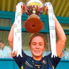 Tipperary captain Samantha Lambert lifts the cup after the Lidl Ladies Football National League Division 2 Final match between Cavan and Tipperary. Photo: Piaras Ó Mídheach/Sportsfile