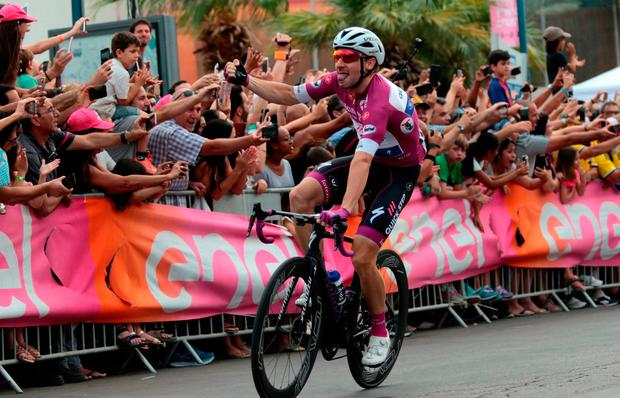 Quick-Step's Elia Viviani celebrates his stage in Eilat yesterday. Photo: Reuters