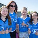 Ashleigh Darcy with her nieces Abby Harkin, Emma Fogarty and Eve Harkin at the Dublin-Mayo game yesterday. Photo: Colin O'Riordan