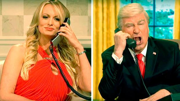 Stormy Daniels with Alec Baldwin as Donald Trump in an NBC picture from Saturday Night Live comedy show