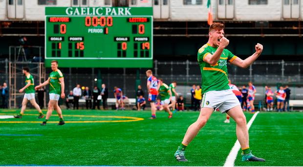 Shane Quinn of Leitrim celebrates his side's victory following the Connacht GAA Football Senior Championship Quarter-Final match between New York and Leitrim at Gaelic Park in New York, USA. Photo by Stephen McCarthy/Sportsfile