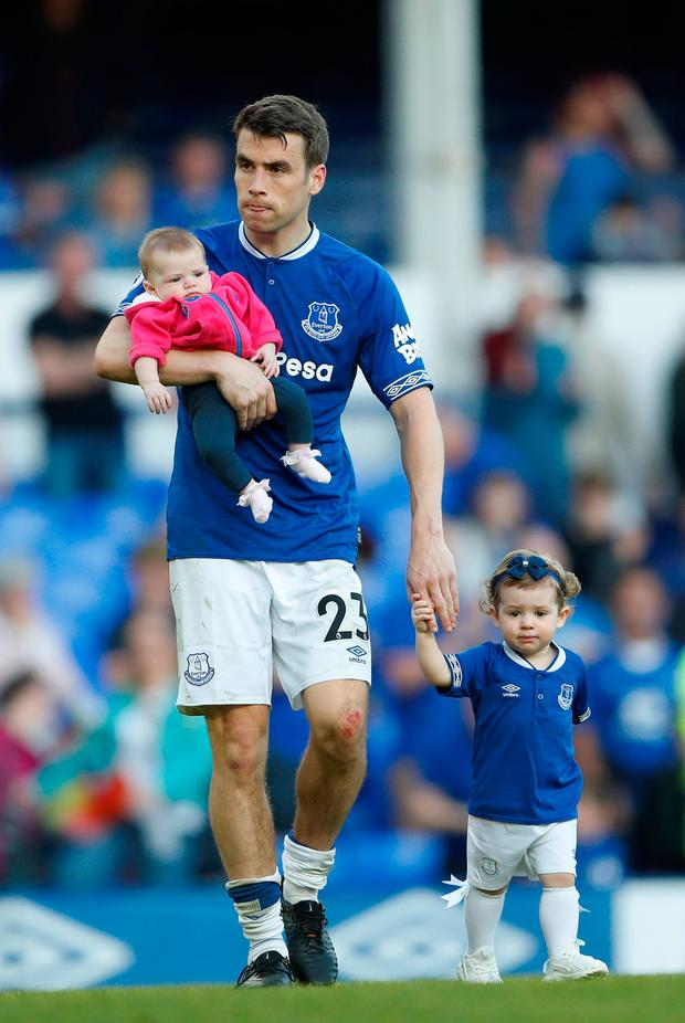 Seamus Coleman with his children during Everton's lap of honour at Goodison Park after their final home game of the season. Photo: Reuters