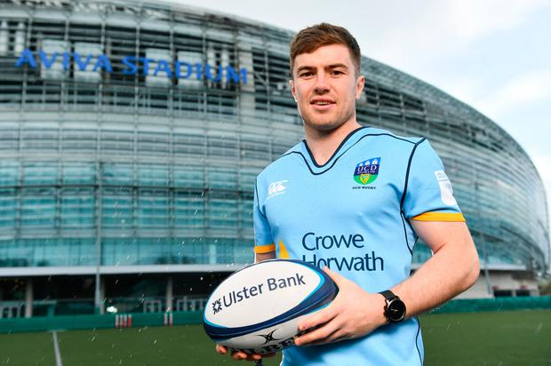 ALL SET: Luke McGrath of Leinster and UCD at the launch of the Ulster Bank League Awards which will take place on Thursday May 17. Photo: Sportsfile