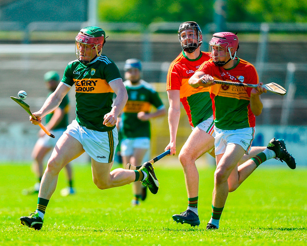 Kerry's Sean Weir in action against Carlow's Ted Joyce. Photo: Matt Browne/Sportsfile