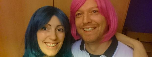 Irene with her husband Stephen trying on wigs after her diagnosis.