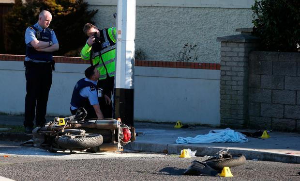 Gardai at the scene of the crash in Finglas,Dublin Picture: Stephen Collins/ Photos