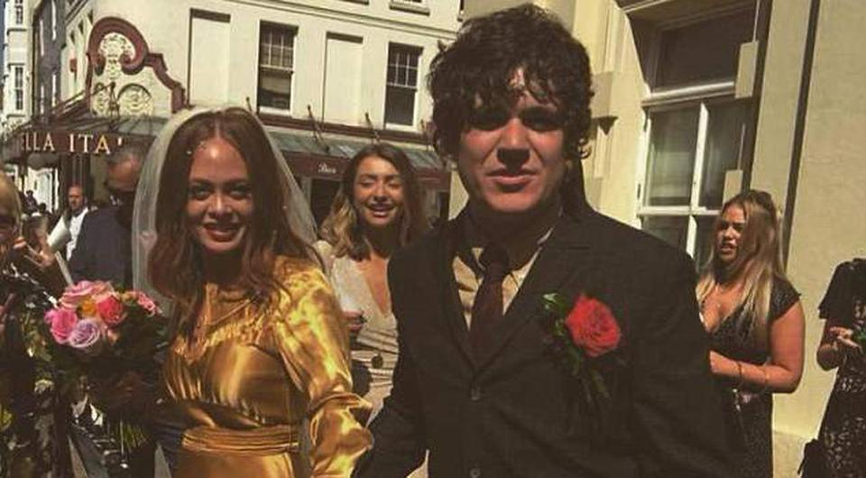 Frankie Cocozza and wife Bianca Murphy on their wedding day. Picture: Instagram
