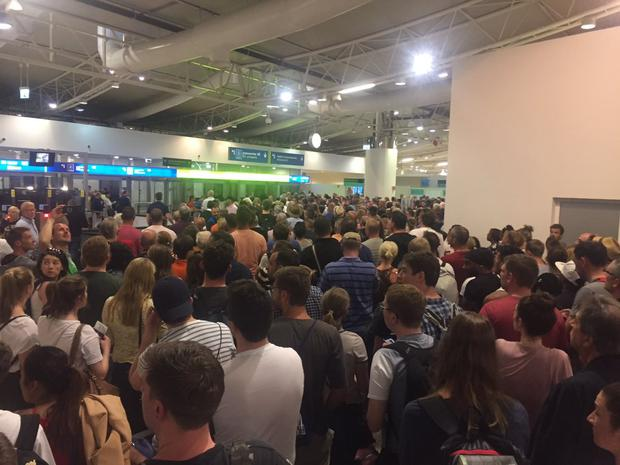 The queue at passport control in Faro Airport, Portugal Photo: Brenda Donohue