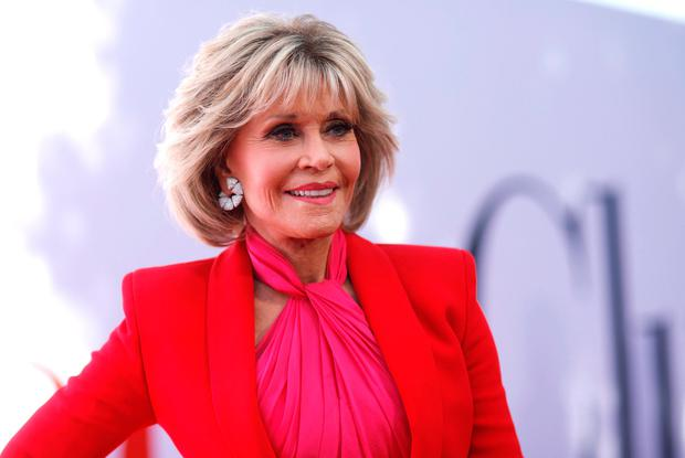 Cast member Jane Fonda poses at the premiere for the movie