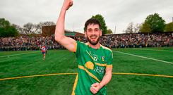Noel Plunkett of Leitrim celebrates following the Connacht GAA Football Senior Championship Quarter-Final match between New York and Leitrim at Gaelic Park