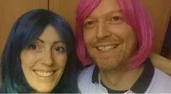 Irene Teap and husband Stephen try on wigs after her hair fell out