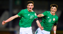 Troy Parrott is among the leading lights in Colin O'Brien's U-17 team who face Denmark today. Photo: Sportsfile