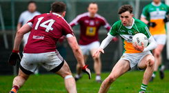 Cian Johnson taking on Westmeath's Kieran Martin when lining out for the Offaly seniors in the O'Byrne Cup semi-final – he has been told he can't play for the team in the Leinster senior championship. Photo: Sportsfile