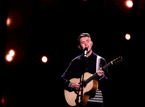 Ireland's Eurovision Song Contest entrant Ryan O'Shaughnessy performs his song 'Together' during the dress rehearsal for the first semi-final at the Altice Arena in Lisbon, Portugal. Picture: Reuters