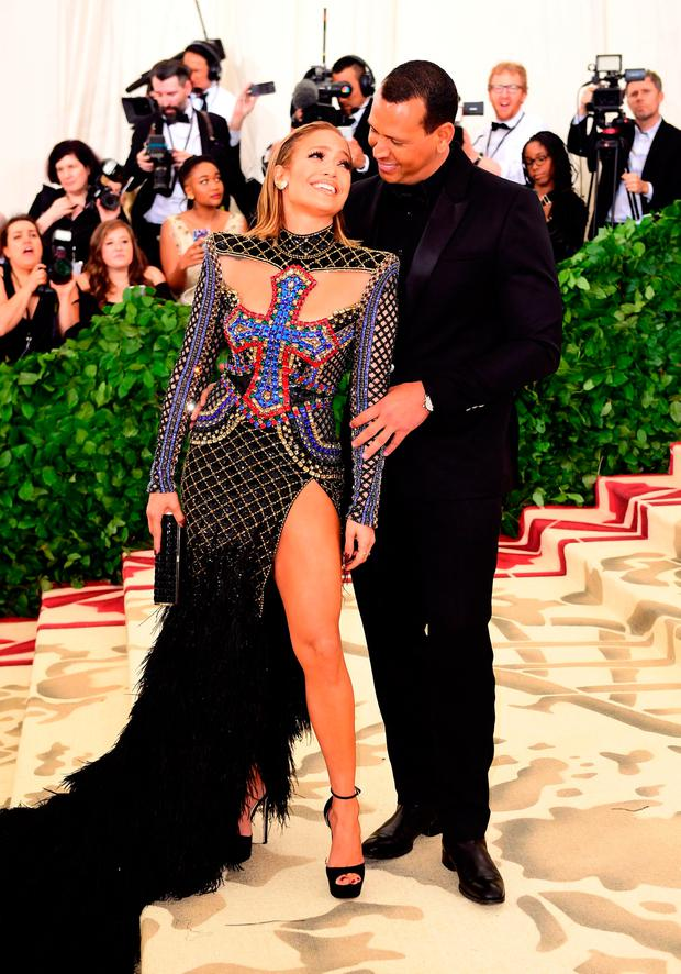 Jennifer Lopez and Alex Rodriguez attending the Metropolitan Museum of Art Costume Institute Benefit Gala 2018 in New York, USA. Ian West/PA Wire