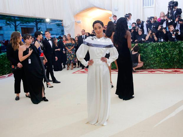"Actress Ruth Negga arrives at the Metropolitan Museum of Art Costume Institute Gala (Met Gala) to celebrate the opening of ""Heavenly Bodies: Fashion and the Catholic Imagination"" in the Manhattan borough of New York, U.S., May 7, 2018. REUTERS/Eduardo Munoz"