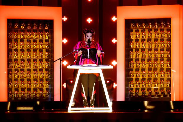 Israel's Netta performs 'TOY' for the Eurovision Song Contest dress rehearsal for semi-final 1. Picture Andres Poveda