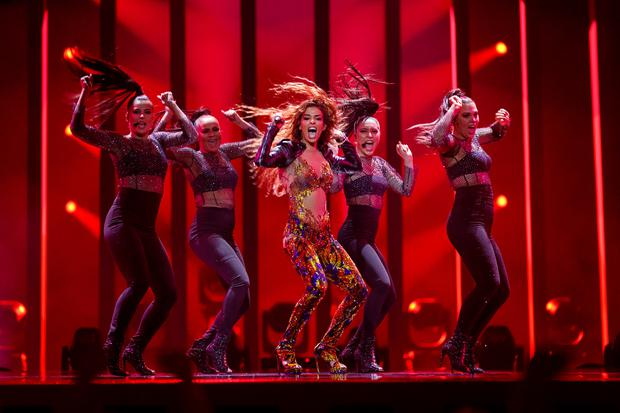 Eleni Foureira from Cyprus performs 'Fuego' for the Eurovision Song Contest dress rehearsal for semi-final 1. Picture Andres Poveda