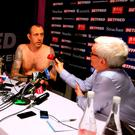Mark Williams conducts his post match interview without any clothes after winning the 2018 Betfred World Championship at The Crucible