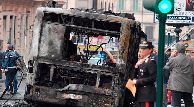Bus catches fire and explodes in Rome