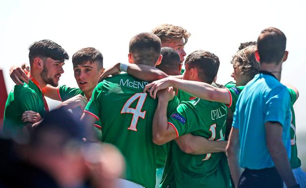 Troy Parrott of Republic of Ireland celebrates with team-mates after scoring his side's first goal during the UEFA U17 Championship Final match between Republic of Ireland and Denmark at St Georges Park in Burton, England. Photo by Malcolm Couzens/Sportsfile