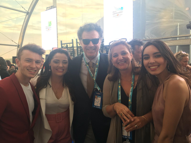 Will Ferrell (centre) with Ireland's dancer Kevin O'Dwyer, and backing singers Janet Grogan and Remy Anna on Eurovision blue carpet