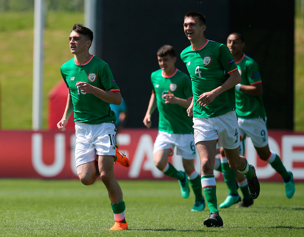 8 May 2018; Troy Parrott of Republic of Ireland celebrates with team-mates after scoring his side's first goal during the UEFA U17 Championship Final match between Republic of Ireland and Denmark at St Georges Park in Burton, England. Photo by Malcolm Couzens/Sportsfile