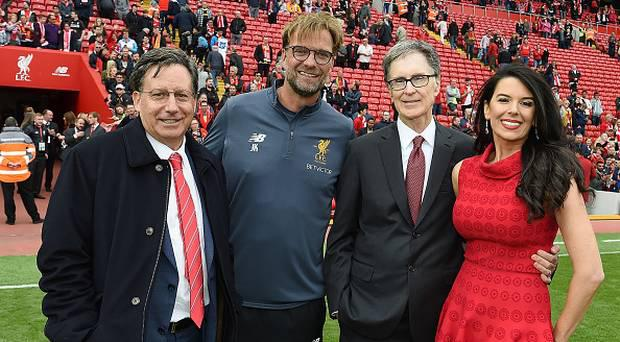 Liverpool Chairman Tom Werner poses with manager Jurgen Klopp and principle owner John W Henry and his wife Linda. (Photo by John Powell/Liverpool FC via Getty Images)
