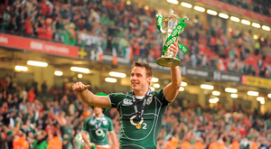 21 March 2009; Ireland's Tommy Bowe celebrates with the RBS Six Nations Championship trophy. RBS Six Nations Championship, Wales v Ireland, Millennium Stadium, Cardiff, Wales. Picture credit: Stephen McCarthy / SPORTSFILE