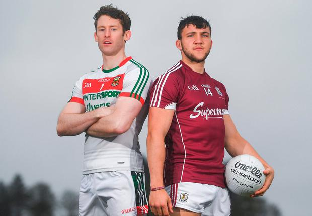 Mayo's David Clarke and Damien Comer of Galway prepare to do battle on Sunday. Photo by Eóin Noonan/Sportsfile
