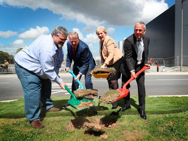 Pat Breen, second left, helps turn the sod on a €150m expansion of Google's second data centre at Grange Castle, south Co Dublin. Photo: Robbie Reynolds