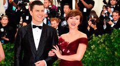 Scarlett Johansson and Colin Jost arrive for the 2018 Met Gala on May 7, 2018, at the Metropolitan Museum of Art in New York