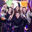 Ryan O'Shaughnessy celebrates getting through to the Eurovision final with Team Ireland. PIC: Andres Poveda