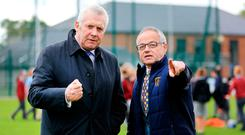 Na Fianna chairman Cormac Ó Donnchú shows committee chairman Fergus O'Dowd the grounds. Photo: Gerry Mooney