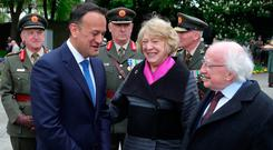 Taoiseach Leo Varadkar meets President Michael D Higgins and his wife Sabina at the annual Arbour Hill commemoration ceremony in Dublin. Photo: Colin Keegan
