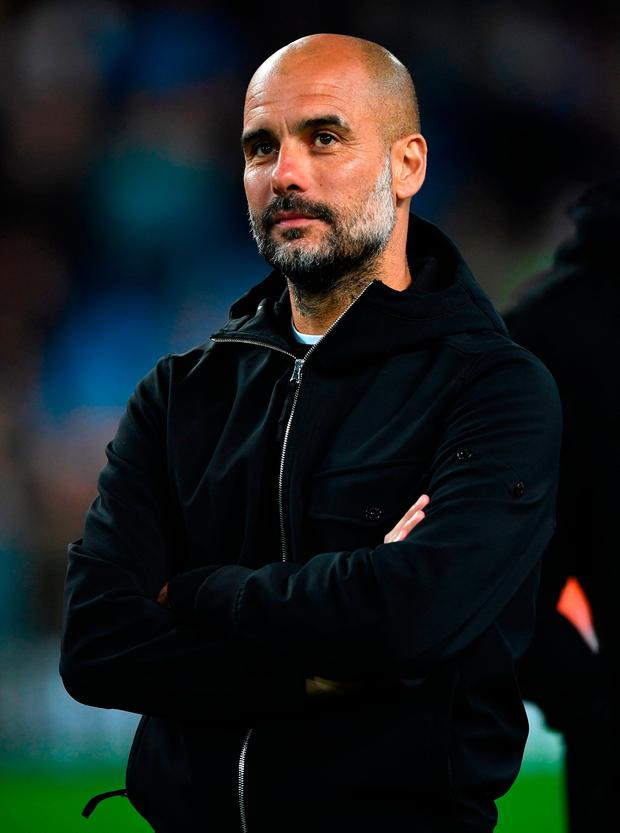 Pep Guardiola, Manager of Manchester City looks on. Photo: Getty
