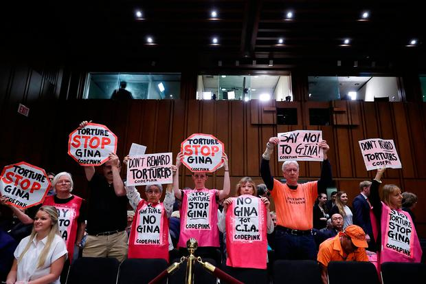Mr Barrows' fellow Code Pink for Peace protesters make their point. Photo: Getty Images