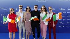 Irish Eurovision hopeful Ryan O'Shaughnessy pictured on the blue carpet at the opening ceremony for the Eurovision Song Contest 2018 in Lisbon, Portugal. Picture: Andres Poveda