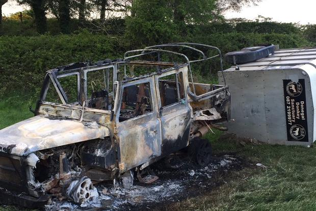 The remains of the jeep and trailer. Picture: Donegal Donkey Sanctuary