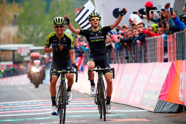Johan Esteban Chaves (left) crosses the finish line ahead of his Mitchelton-Scott team-mate Simon Yates to win the sixth stage of the Giro d'Italia at Mount Etna. Photo: Getty Images