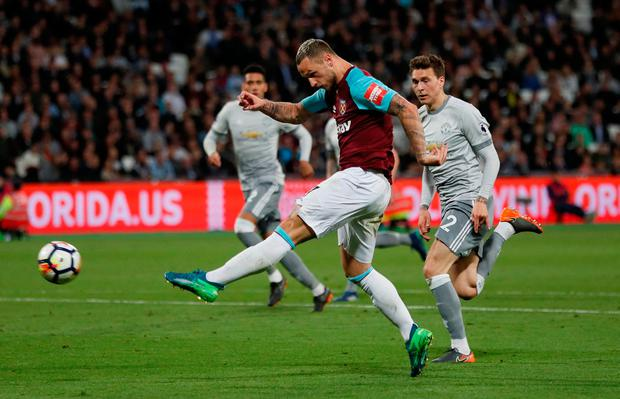 West Ham United's Marko Arnautovic shoots at goal. Photo: Reuters