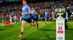 Michael Darragh Macauley of Dublin runs out prior to the Football All-Ireland Senior Championship Final against Mayo