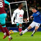 Wayne Rooney's cracker against West Ham and (inset) Wanyama celebrates against Liverpool