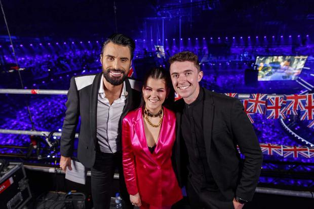 Ryan O'Shaughnessy with Rylan Clark-Neal and Finland's Saara Aalto. PIC: Andres Poveda
