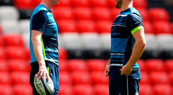 Head coach Leo Cullen, left, and Robbie Henshaw during the Leinster Rugby captains run