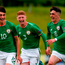 Ireland celebrates scoring his side's first goal with teammates from left, Jason Knight, Cameron Ledwidge and Barry Coffey