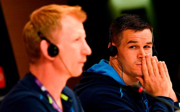 Jonathan Sexton right and head coach Leo Cullen during a Leinster Rugby press conference at the San Mames Stadium in Bilbao Spain