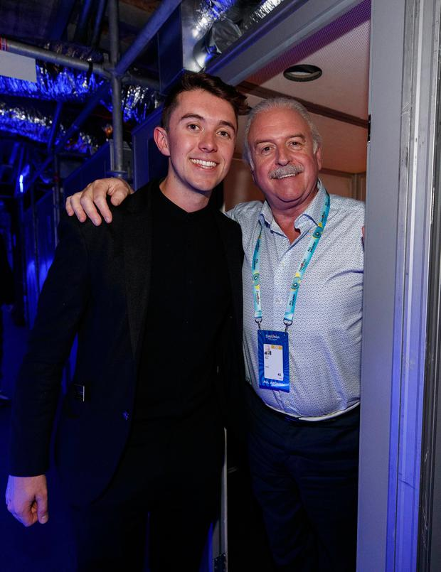 Irish Eurovision hopeful Ryan O'Shaughnessy and Marty Whelan. Picture Andres Poveda