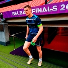 Johnny Sexton arrives to the Leinster captain's run at the San Mames Stadium in Bilbao yesterday. Photo: Ramsey Cardy/Sportsfile