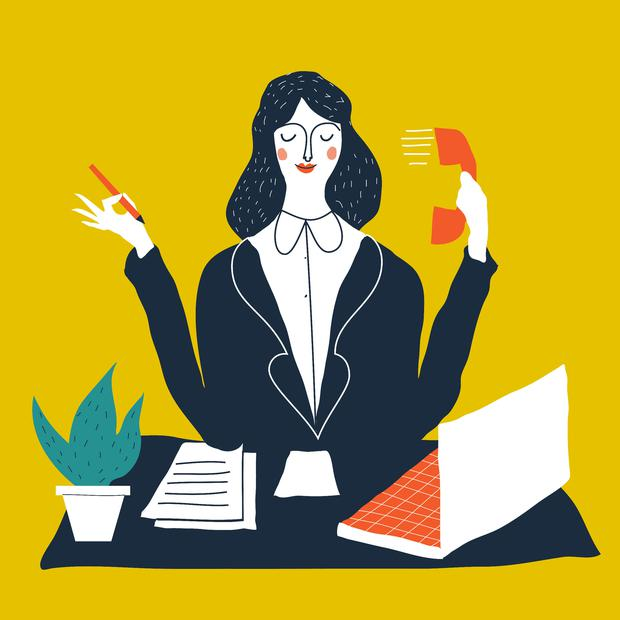 Female personal assistant cute vector illustration. Young office manager multi-tasking. Cartoon business lady illustration.